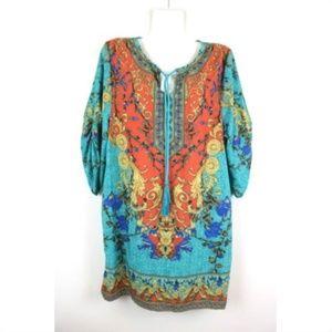 Urban CoCo Boho Tassel Ruched Sleeve Shift Dress